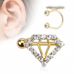 Faux anneau d'oreille doré diamant Jyjo FAU280