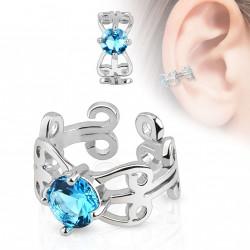 Faux anneau d'oreille zirconium bleu Byz FAU281