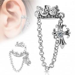 Faux anneau d'oreille couronne et croix Baz FAU282