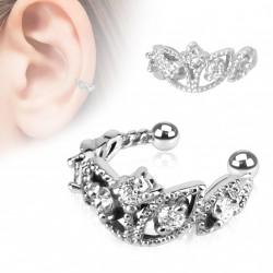 Faux anneau d'oreille diadème avec zirconium blanc kol FAU283