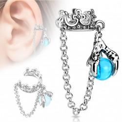 Faux anneau d'oreille couronne et griffes Buty FAU284