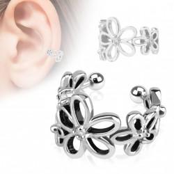 Faux anneau d'oreille fleur avec zirconium blanc koyr FAU285