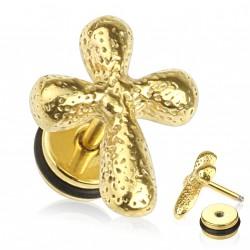 Faux piercing plug en croix en acier doré Ploux FAU293