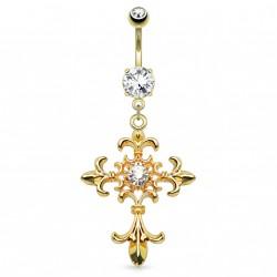 Piercing nombril doré avec une croix de lys Waces NOM593