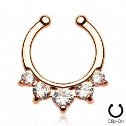 Faux piercing or rose septum zirconium blanc Wufe FAU276