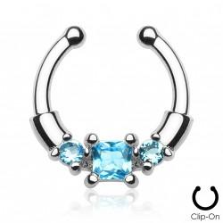 Faux piercing septum zirconium bleu Xasy FAU294