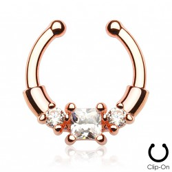 Faux piercing or rose septum zirconium blanc Xyg FAU294