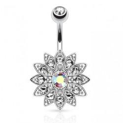 Piercing nombril fleur en zirconium aurore boréale Buko NOM587