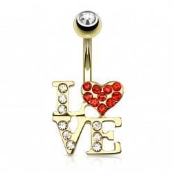 Piercing nombril plaqué or coeur love rouge Jeya NOM594