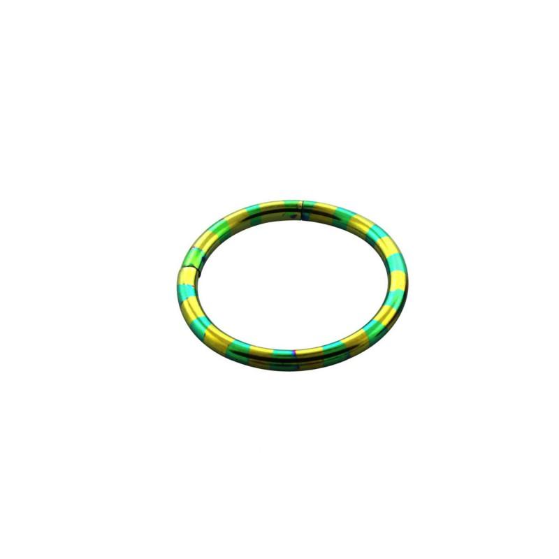 Piercing anneau 14 x 1,6mm segment zébre vert doré Piercing oreille5,90€