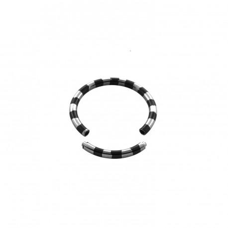 Piercing anneau 14 x 1,6mm segment zébré noir ANN066