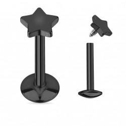 Piercing labret 6mm monroe noir avec étoile Saze