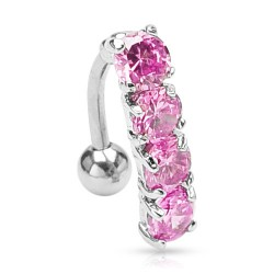 Piercing nombril inversé rose Jakal NOM059