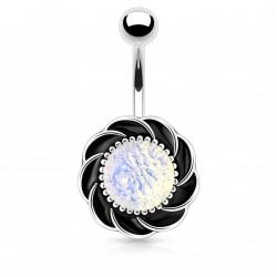 Piercing nombril fleur avec une opaline Riop NOM439