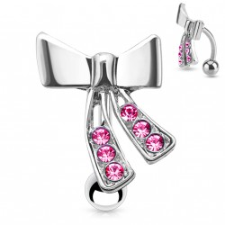 Piercing nombril ruban et zirconium rose Kyta NOM602
