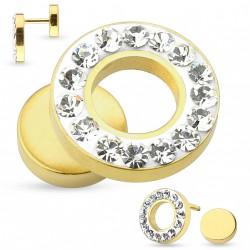 Faux piercing tunnel 12mm doré et cristal blanc Vafu FAU247