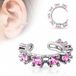 Faux anneau d'oreille avec pierres de cristal rose Bawa FAU297