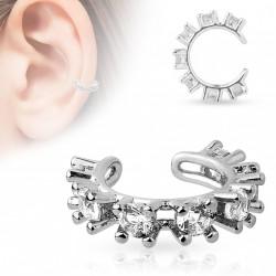 Faux anneau d'oreille avec pierres de cristal blanc Byta FAU297