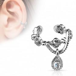 Faux anneau d'oreille avec zirconium blanc en pendentif Xaz FAU298