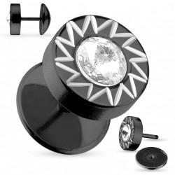 Faux piercing plug noir soleil et zirconium Tuh Faux piercing4,60€
