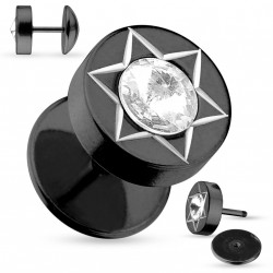 Faux piercing plug noir étoile et zirconium Tyza FAU299