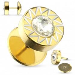 Faux piercing plug doré soleil et zirconium Tytaz FAU300