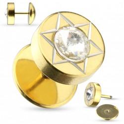 Faux piercing plug doré étoile et zirconium Tyxe FAU300