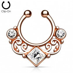 Faux piercing septum or rose et zirconium square Wol FAU304