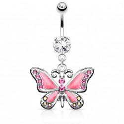 Piercing nombril avec papillon rose et gems Tipo NOM603