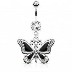 Piercing nombril avec papillon noir et gems Tyra NOM603