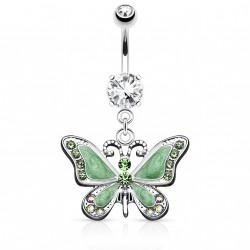 Piercing nombril avec papillon vert et gems Tyjy NOM603
