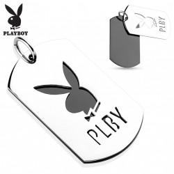 Pendentif double plaques acier Playboy Haz PEN079