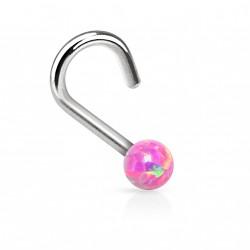 Piercing nez coudé et perle d'opale rose Byhe NEZ085