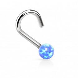 Piercing nez coudé et perle d'opale bleu Bujo NEZ085