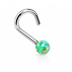 Piercing nez coudé et perle d'opale verte Buko NEZ085