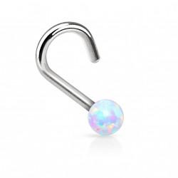 Piercing nez coudé et perle d'opale blanche Bukol NEZ085