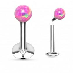 Piercing labret lèvre 6mm boule opale rose Gara LAB067