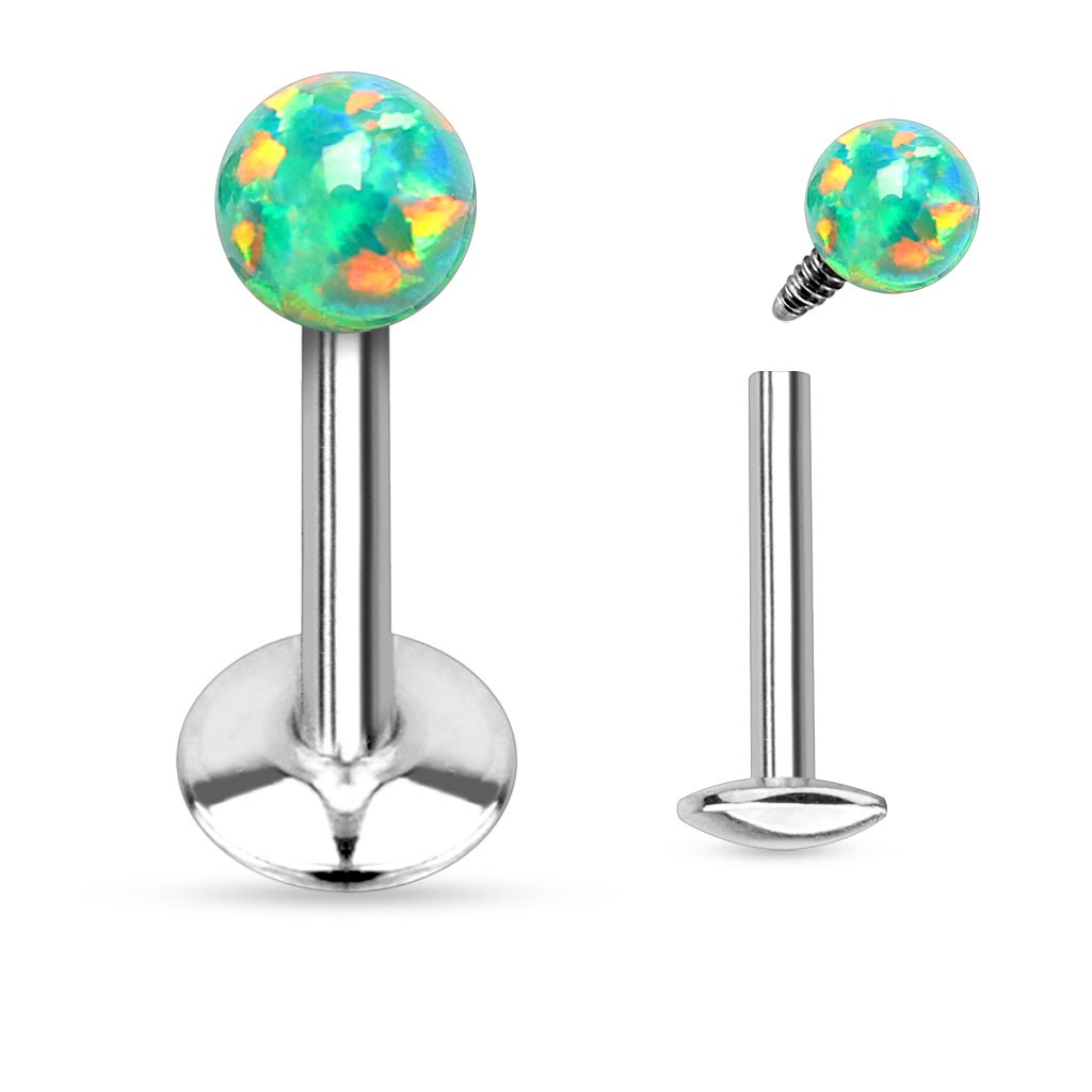 piercing labret l vre 6mm boule opale verte guku 4 70. Black Bedroom Furniture Sets. Home Design Ideas