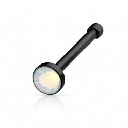 Piercing nez droit noir avec une opale blanche Gayu NEZ086
