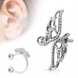 Faux anneau d'oreille avec des ailes croisées d'anges Xas FAU021