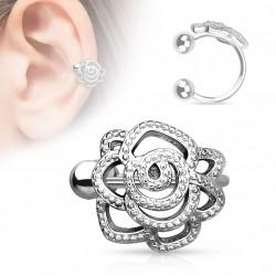 Faux anneau d'oreille fleur rose kou FAU307