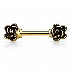 Piercing téton doré 10mm fleur motif rose vintage Dopy TET084