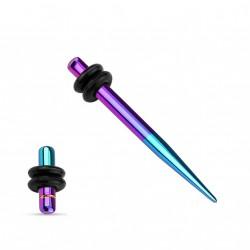 Piercing écarteur 3mm et plug violet et bleu aqua Xoli COR072