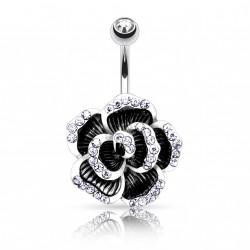 Piercing nombril fleur rose noire Roku NOM617