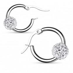 Boucle d'oreille acier et boule cristal blanc Dop BOU011