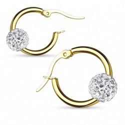 Boucle d'oreille doré et boule en cristal blanc Daz BOU012