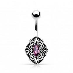 Piercing nombril vintage et cristal violet Rujo