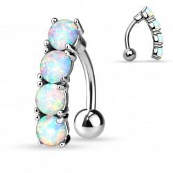 Piercing nombril inversé opale blanche Mopul NOM627