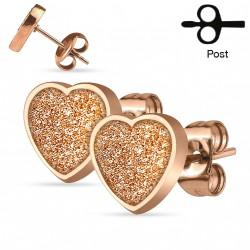 Puces d'oreilles or rose avec un coeur Naw PUC092