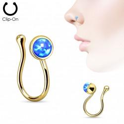 Faux piercing de nez doré avec opale bleu Dyk FAU313